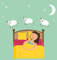 counting girl to fall asleep vector image vector image