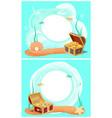 creative photo frames with treasure in sea set vector image vector image