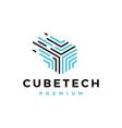 cube tech dash digital abstract logo icon vector image