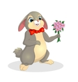 cute rabbit with a bouquet flowers vector image vector image