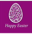 Elegant Easter egg on purple background vector image vector image