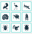fauna icons set with raven grasshopper bug and vector image