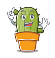 finger cute cactus character cartoon vector image vector image