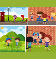 four scenes of children playing different sports vector image