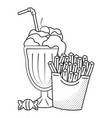 french fries and milk shake black and white vector image