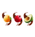 fruit in chocolate splash realistic vector image vector image