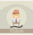 funny cartoon character stylish guy on lovely vector image