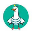 Funny cartoon seagull crowned vector image