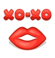 Greeting card with xo-xo and lips Concept can be vector image