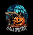 halloween with pumpkin giving out zombie hands vector image vector image