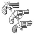 hand drawn retro pistols set vector image
