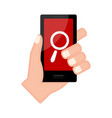 hand holding a smartphone with a search icon vector image