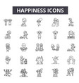 happiness line icons signs set outline vector image vector image