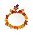 happy thanksgiving turkey with leaves vector image vector image