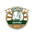 Hunting sport and african safari round badge vector image vector image