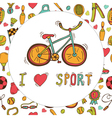 I love sport Bicycle emblem Hand drawn doodle vector image