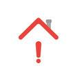 icon concept of exclamation mark under house roof vector image vector image