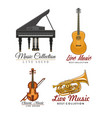 icons set for music concert labels vector image vector image