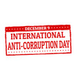 international anti-corruption day grunge rubber vector image