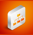 isometric folder tree icon isolated on orange vector image vector image