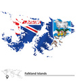 Map of Falkland Islands with flag vector image vector image