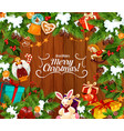 merry christmas best wishes greeting card vector image