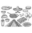 mexican national food and cinco de mayo signs vector image