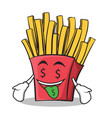 money mouth french fries cartoon character vector image vector image