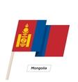 Mongolia Ribbon Waving Flag Isolated on White vector image vector image