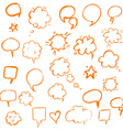 Orange Hand Draw Speech Bubble vector image