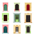 outdoor view on classic doors or entrance exit vector image vector image