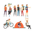 people with hiking backpacks engaged in active vector image vector image