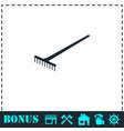 rake icon flat vector image vector image