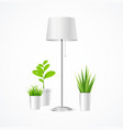 realistic detailed 3d floor lamp and plant vector image