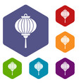 red chinese lantern icons set hexagon vector image vector image