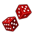 Red Dice Cubes on White Background vector image vector image