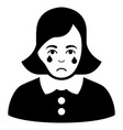 sad crying woman black icon vector image