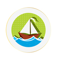 Sailing boat sticker vector | Price: 1 Credit (USD $1)