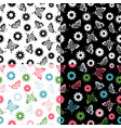 set butterflies seamless pattern flowers vector image