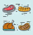 set delicious food menu to eat vector image