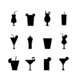 set different alcohol drink bottle and glasses vector image