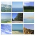 Set of blurred landscapes travel badge vector image