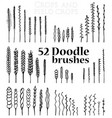 set of doodle brushes in the form of spikelets vector image