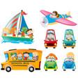 set of kids on different transportations vector image