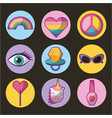 set of patches or stickers cute cartoon icons vector image