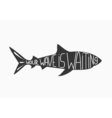 Silhouette of shark isolated on white vector image vector image