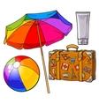 Summer time vacation attributes - umbrella vector image vector image