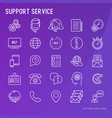 support service or call center thin line icons set vector image