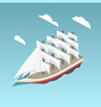 Vintage sailing ship isometric vector image