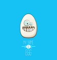 white egg cartoon characters isolated on blue vector image vector image